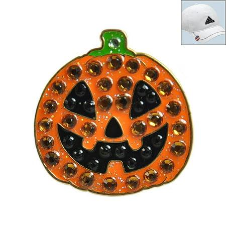 Navika Swarovski Crystal Golf Ball Marker & Hat Clip - Jack O'Lantern Halloween](Moby Golf Halloween)