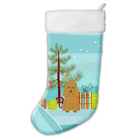 - Carolines Treasures BB4194CS Merry Christmas Tree Poodle Tan Christmas Stocking