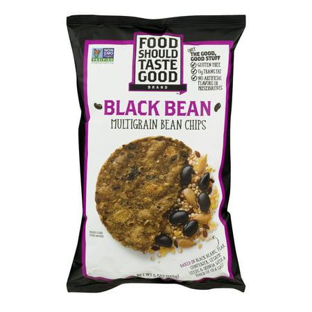 Food Should Taste Good  Tortilla Chips Gluten Free Non Gmo Black Bean Multigrain 5 5 Oz Bag  5 5 Oz