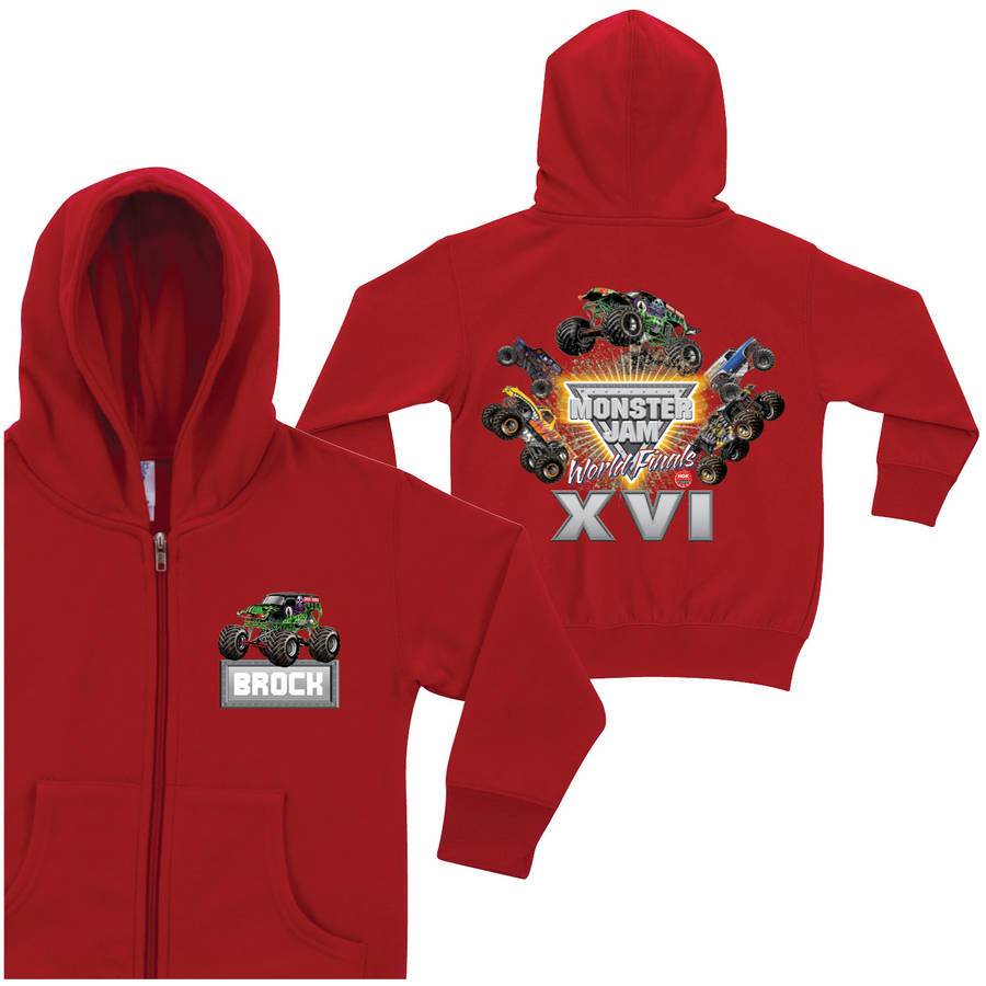 Personalized Monster Jam World Finals Toddler Boys' Zip-Up Hoodie, Red