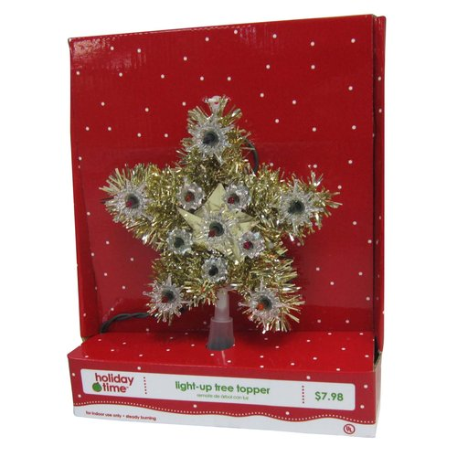 """Holiday Time 6"""" Tinsel Star Tree Topper, Gold/Multi"""