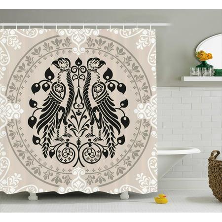 Vintage Shower Curtain, Ethnic Heraldic Eagle Birds with Damask ...