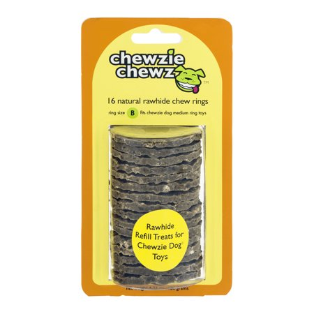 Chewzie Dog Chewzie Chewz Medium Rawhide Chew Rings  16Ct