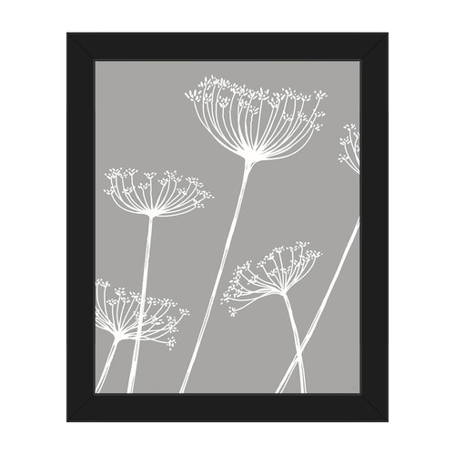 Click Wall Art 'Meadow Flowers White on Gray' Framed Graphic Art