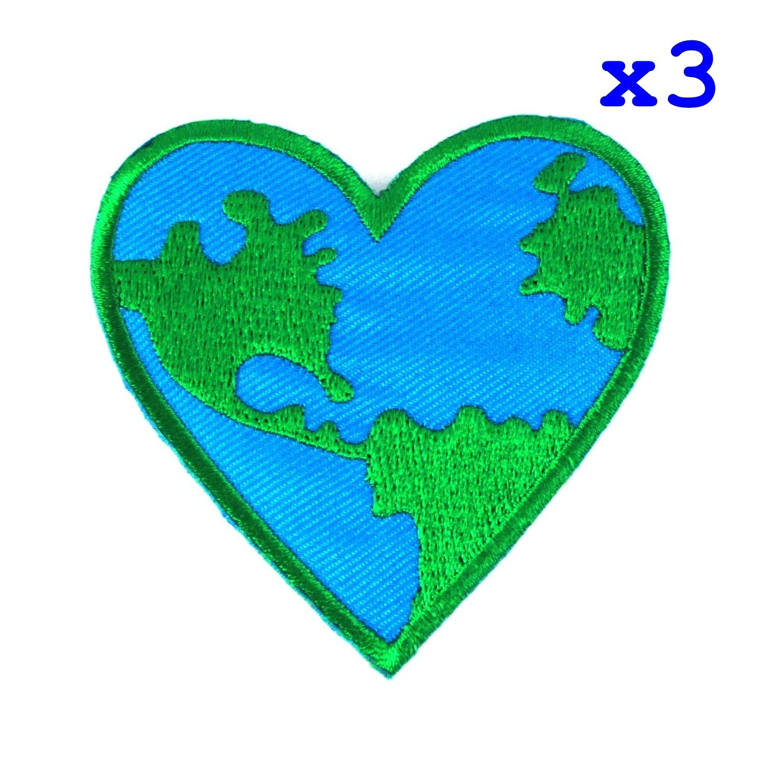"Pack of 3 Love Earth, Heart Logo Iron on Patches, Pack of 3 Patch Size : 2 1/2"" x 2 3/4"" By DIYmonk Patch"