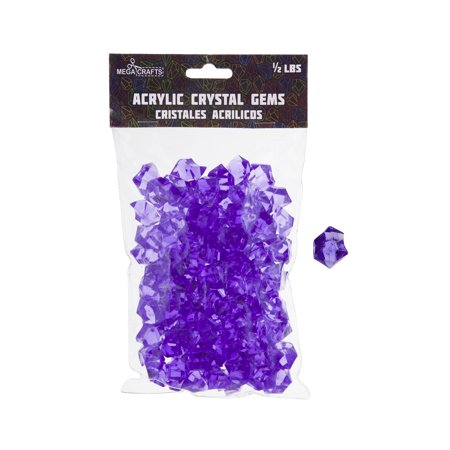 Mega Crafts - 1/2 lb Acrylic Ice Rock Cubes Purple | Plastic Glass Gems For Arts And Crafts, Vase Fillers And Table Scatters, Decoration Stones, Shiny Pebbles ()