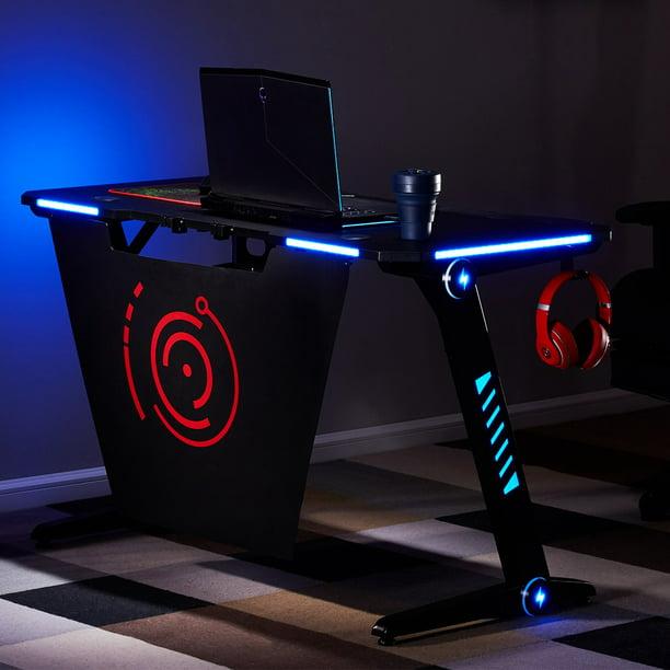 Modernluxe Gaming Desk With Rgb Led, Led Lights For Desk