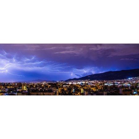 Peel-n-Stick Poster of Lightning Thunder Bolt Cloud Lighting Thunderstorm Poster 24x16 Adhesive Sticker Poster - Lightning Bolt Stickers