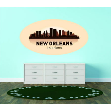 Custom City Wall Map - Custom Wall Decal New Orleans Louisiana United States Major City Geographical Map Landmark - Vinyl Wall - 16x30