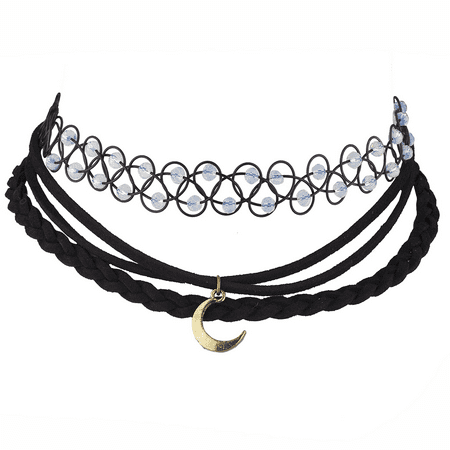 Lux Accessories Black Beaded Tattoo Suede Moon Galaxy Choker Necklace Black Beaded Choker Necklace