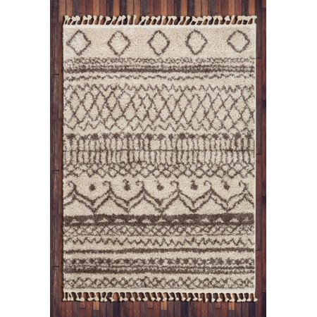 Well Woven Cabana Lyle Natural Modern Tribal Shag Moroccan Trellis 7 ft. 10 in. x 9 ft. 10 in. Area Rug