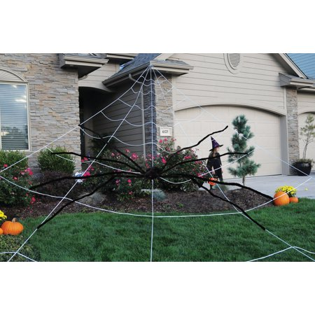 Halloween Games Spider Web Maze (Huge Mega Yard Outdoor Spider Web And Poseable 9' Furry Black Spider)
