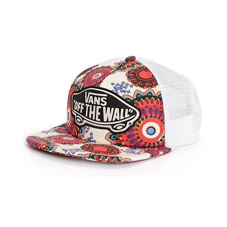 e7f0eedc5bf Vans Off The Wall Women s Beach Girl Trucker Hat Cap - Geo Floral ...