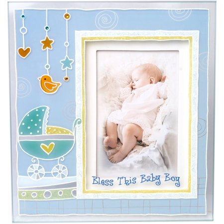 Boys Christening Baptism Painted 3D Glass Frame With \