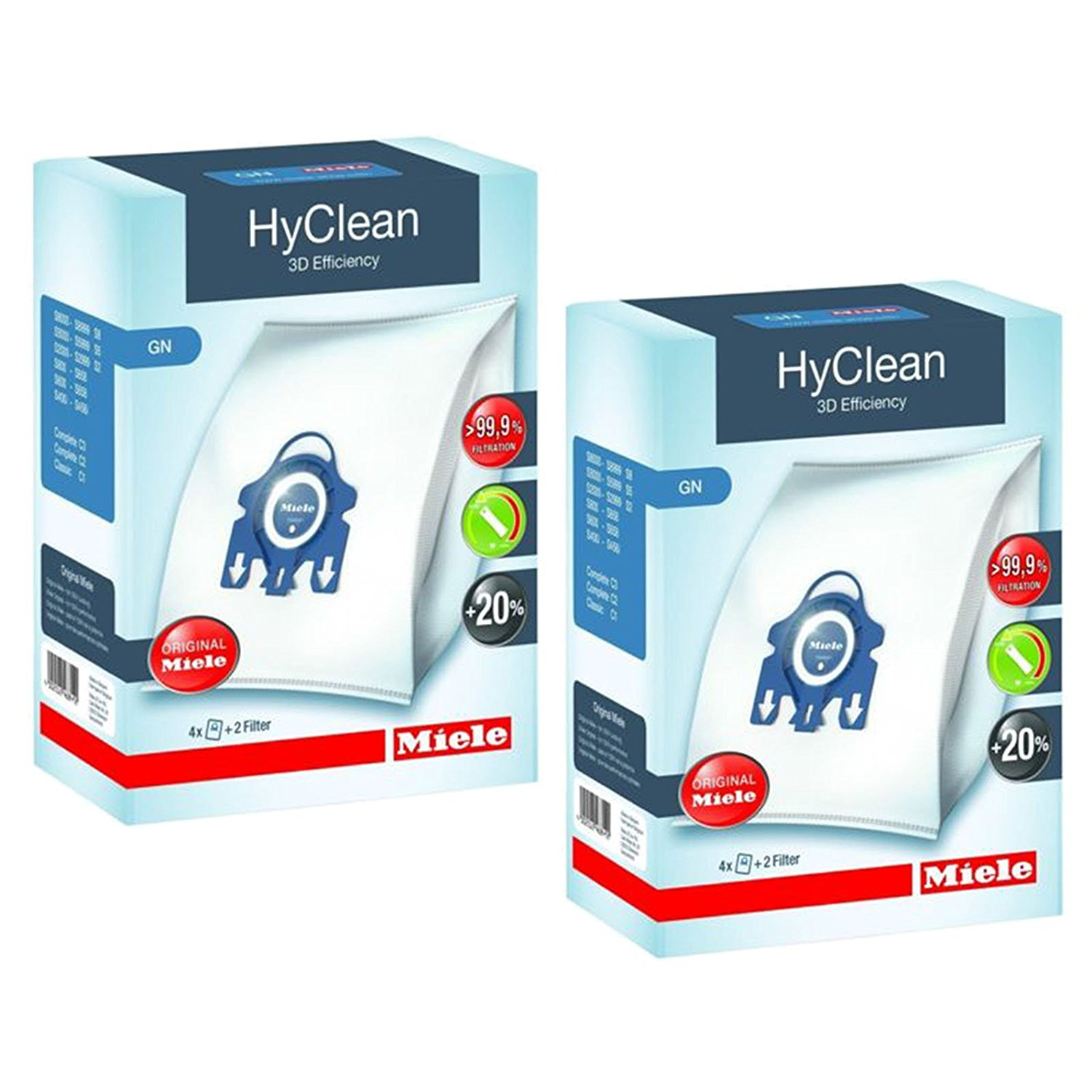 Miele Gn Hyclean 3d Efficiency Dust Bags For Vacuum 2 Bo Of 4 Filters