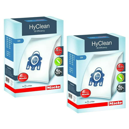 Miele GN HyClean 3D Efficiency Dust Bags for Miele Vacuum, 2-Boxes of 4 Bags & 2 Filters (Dust Extractor Filter Bag)