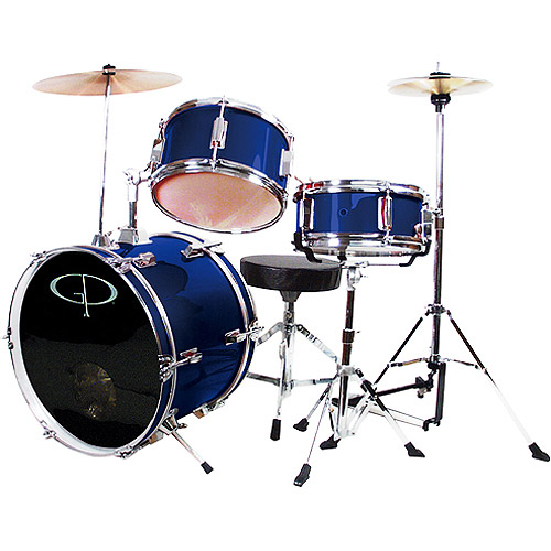 GP Percussion 3-Piece Complete Junior Drum Set, Metallic Midnight Blue
