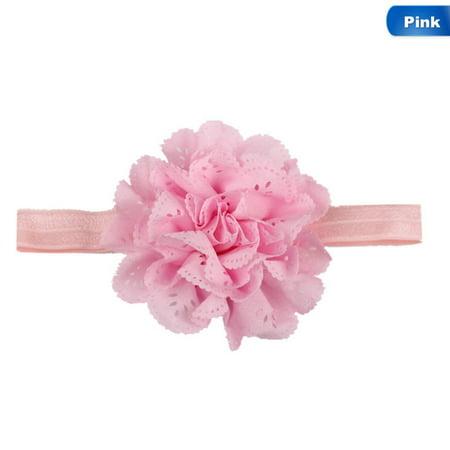 AkoaDa 2Pcs Newborn Infant Candy Color Headwrap Baby Headbands Headwear Girls Hair Hairband Bronzing Hollow Flower Headband Candy Pink Peony Headband