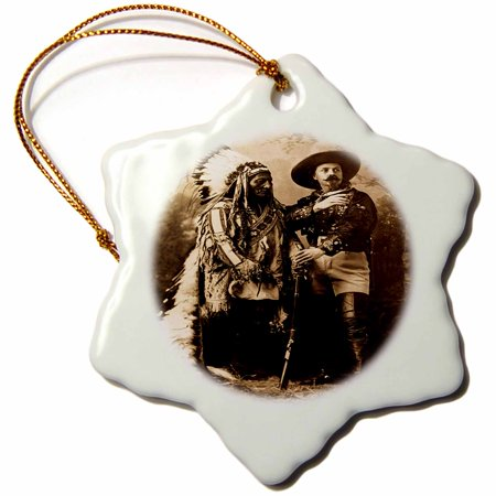 3dRose Sitting Bull and Buffalo Bill 1895 Sepia - Snowflake Ornament, (Buffalo Bills Ornaments)