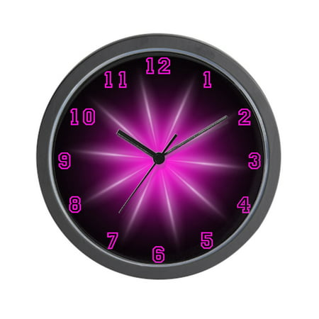 "CafePress - Pink Neon Star - Unique Decorative 10"" Wall Clock"