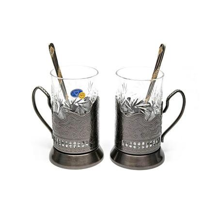 BRONZE Set of 2 Russian Vintage Crystal Tea Glass & Handmade Holder