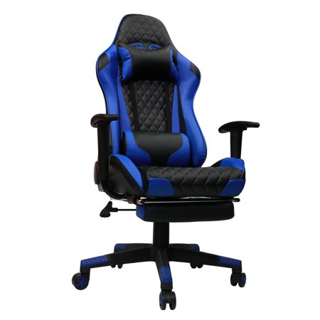 - Kinsal Gaming Chair Including Headrest and Lumbar Support, Executive Computer Chair High-back Ergonomic Desk Chair Racing Chair, Leather Office Chair (Black&Blue)