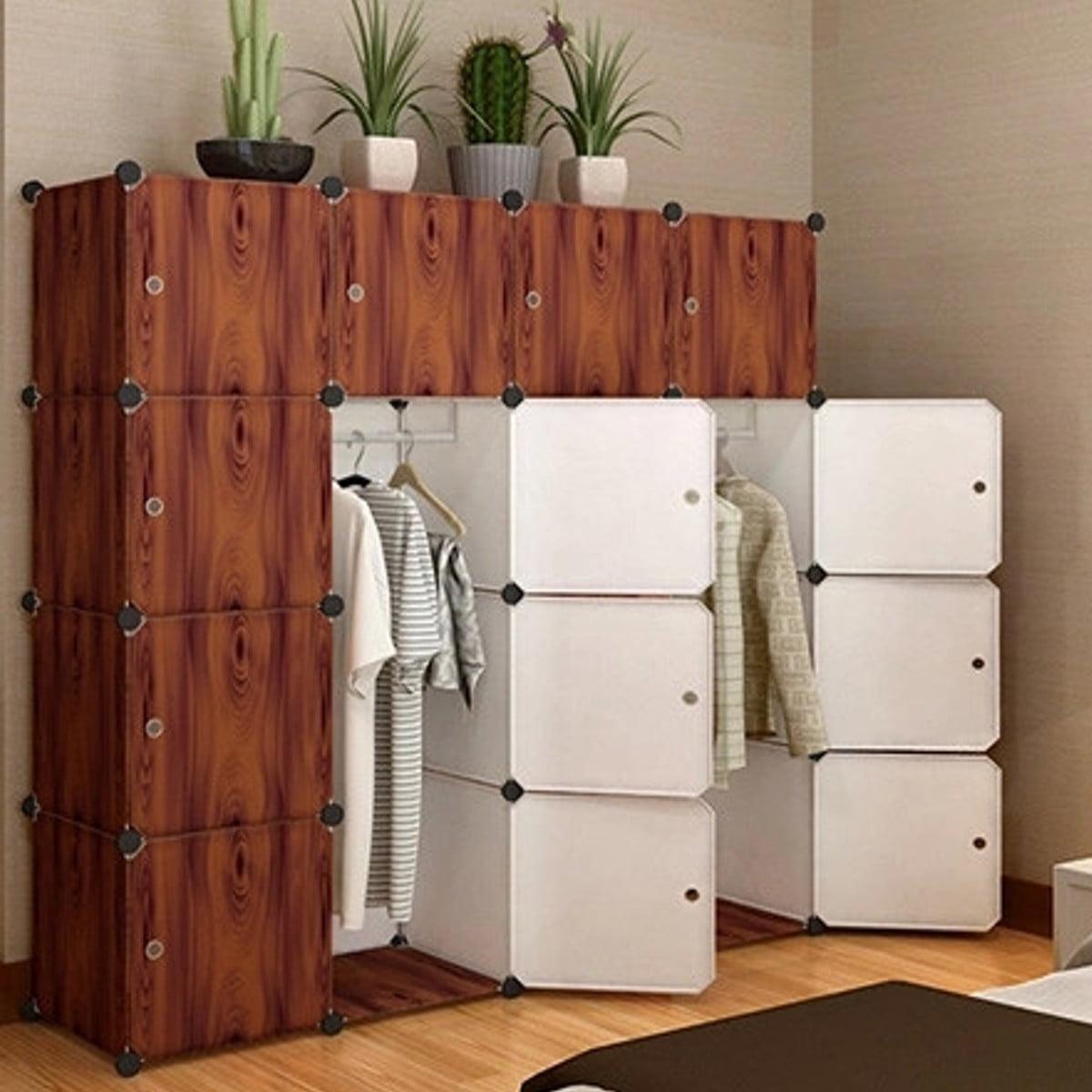 "42"" 9 Cube Portable Storage Box Clothes Wardrobe Cabinet Closet Storage Organizer Rack Shelves with Doors"