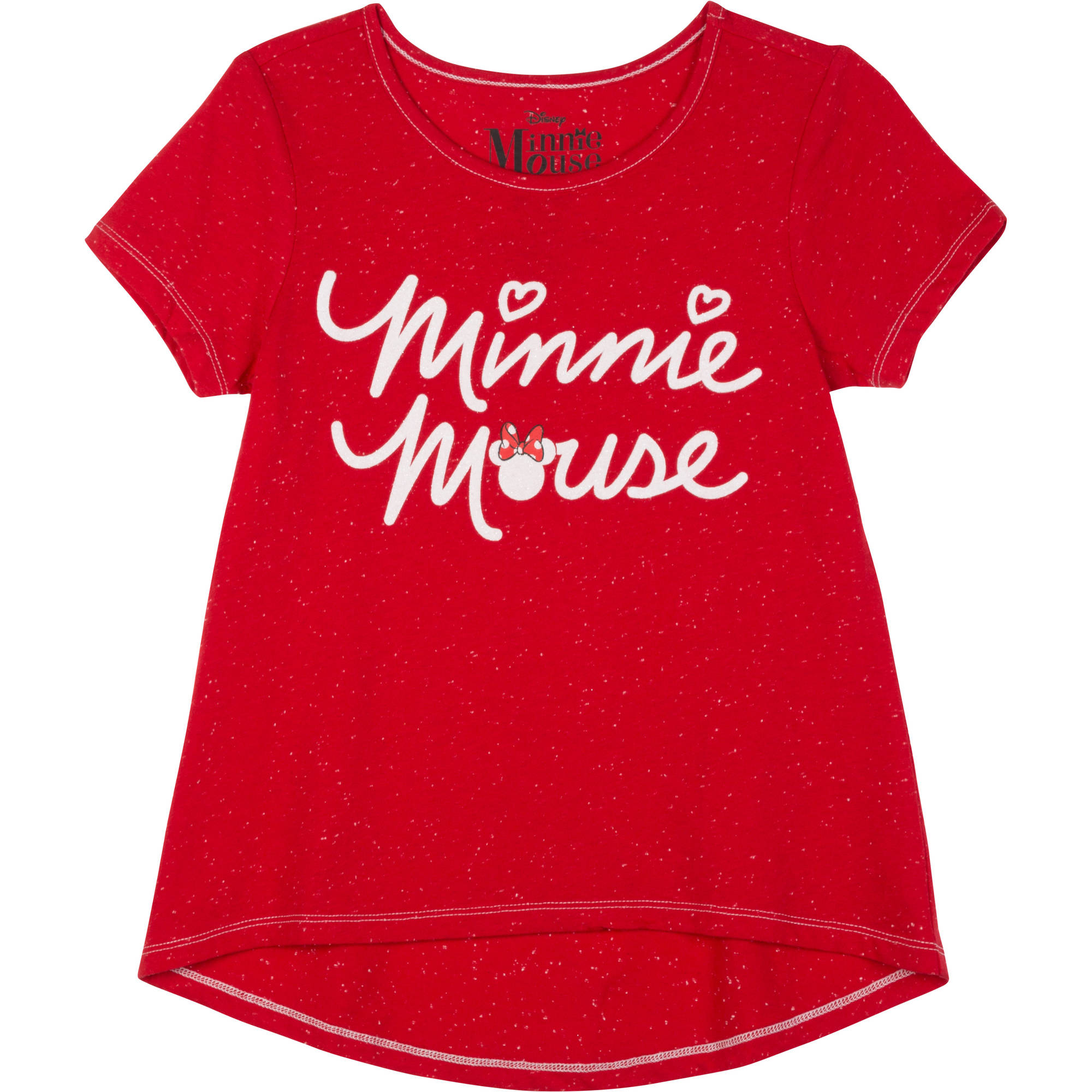 "Girls Short Sleeve Hi Lo Tee ""Minnie Logolicious"""