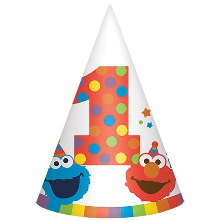 Elmo Hat (Elmo Turns One Paper Cone Hats (8)