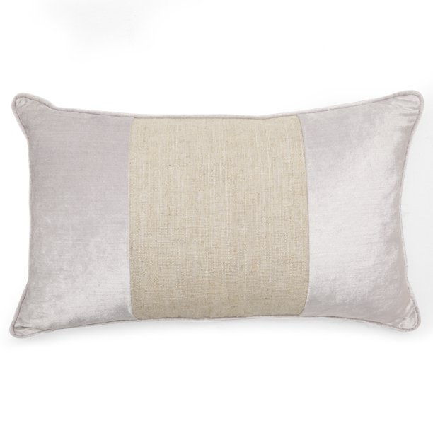 "MoDRN Glam Striped Linen and Velvet Oblong Decorative Throw Pillow, 14"" x 20"""