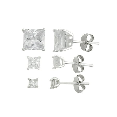 Square Spiral Earrings (White CZ Square 3mm, 4mm and 7mm Sterling Silver Stud Earrings Set )