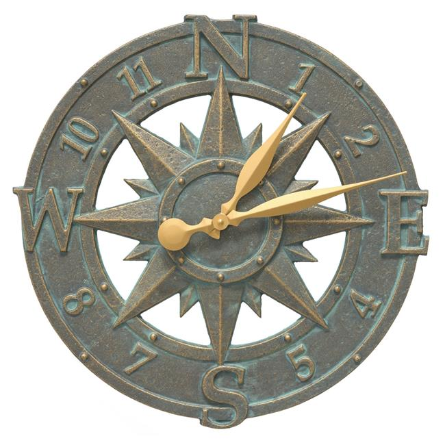 16 in. Compass Rose Clock - Bronze Verdigris