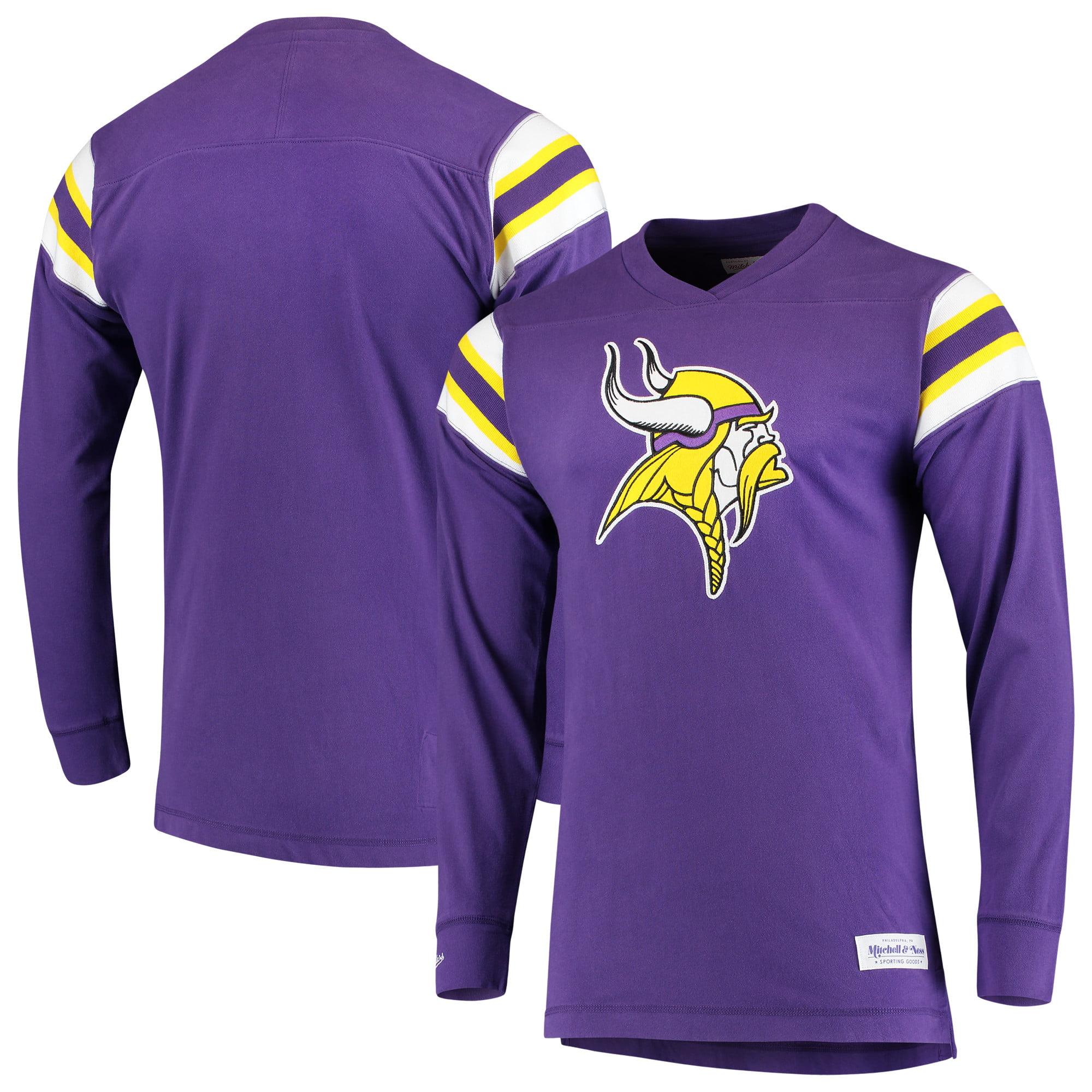 Minnesota Vikings Mitchell & Ness Team Captain V-Neck Long Sleeve T-Shirt - Purple