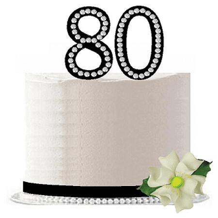 80th Birthday / Anniversary Rhinestone Bling Sparkle Cake Decoration Topper -Black (Ideas For 80th Birthday Cake)