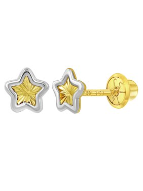 cd3493429 Product Image 14k Yellow and White Gold Two Tone Star Screw Back Earrings  for Toddlers or Girls