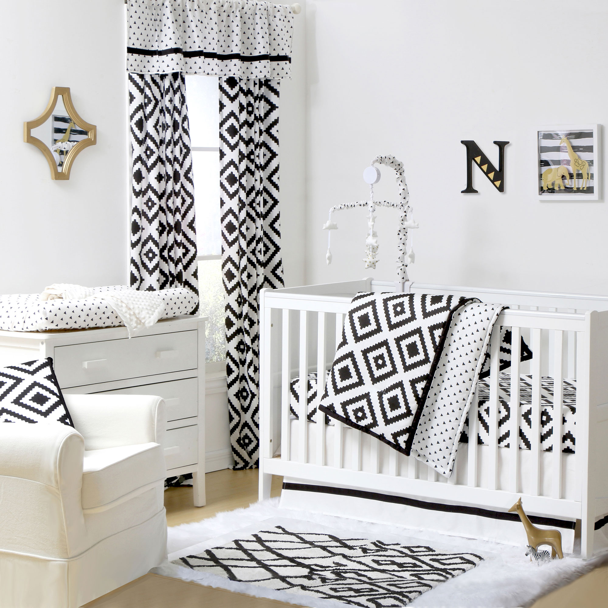 The Peanut Shell 4 Piece Baby Crib Bedding Set - Black Diamond Tile and Geometric Prints - 100% Cotton Quilt, Dust Ruffle, Fitted Sheet, and Mobile