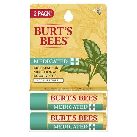Burt's Bees Medicated Lip Balm with Menthol & Eucalyptus, Blister Box, 0.15 Ounce, 2