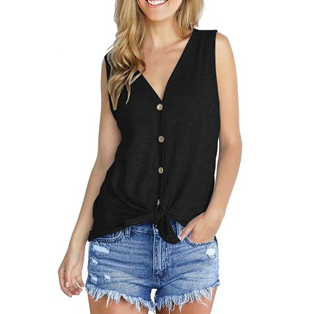 DYMADE Women's V Neck Tank Top Button Down Sleeveless Shirt Casual Knit Tunic - Knit Button Shirt