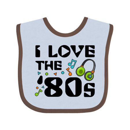 Inktastic I Love the '80s-musical notes Baby Bib Unisex, Blue and Chocolate