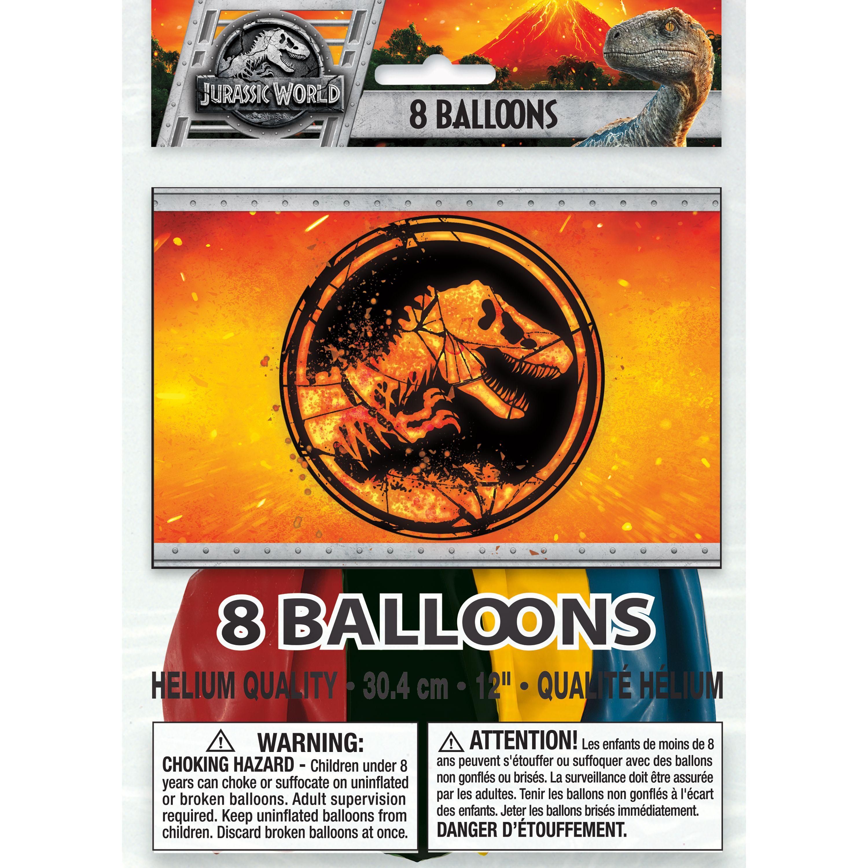 Latex Jurassic World Balloons, 12 in, 8ct