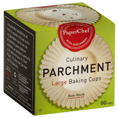 Large Cupcake Liners (PaperChef Culinary Parchment Large Baking Cups, 60 count, (Pack of)