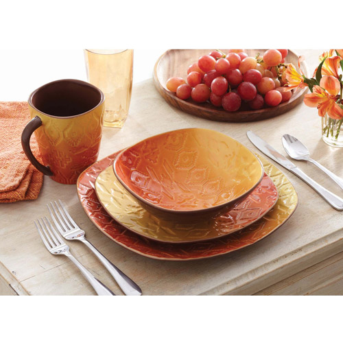 Better Homes and Gardens Southwest 16-Piece Square Dinnerware Set Orange  sc 1 st  Walmart : southwest dinnerware patterns - pezcame.com
