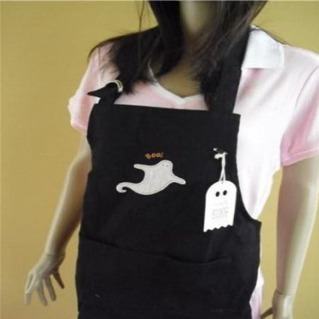 Williams Sonoma Ghost Kids Black Apron 25  Length X 19  Width With Pockets