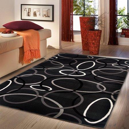 LR Home  Adana Charcoal Circles Indoor Area Rug ( 5'3 x 7'5 ) - 5'1