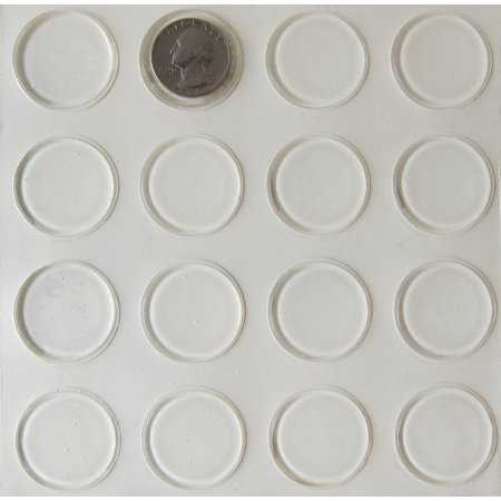 Round Rubber Feet - Rubber Feet, Round Self Stick Thin Clear Bumper Pads 16 Pack