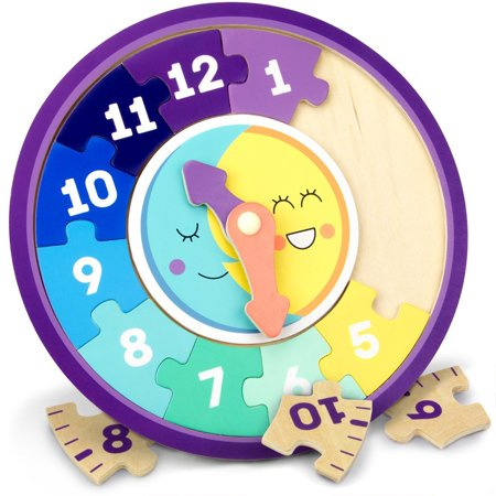 Day & Night Teaching Clock, 13-piece Wooden Reversible Jigsaw Puzzle Clock Faces for Basic and Advanced Levels by, TICK TOCK: There's no time like the.., By Imagination Generation (Jigsaw Face)