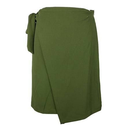 Eci Olive Faux-Wrap Crepe Skirt XL