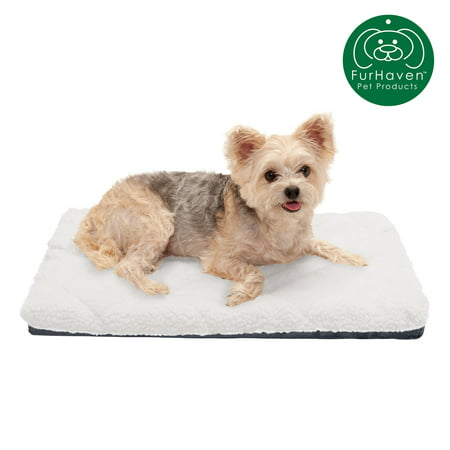 FurHaven Pet Kennel Pad | Orthopedic Faux Lambswool & Sherpa Pet Mattress for Crates & Kennels, Cream, Small