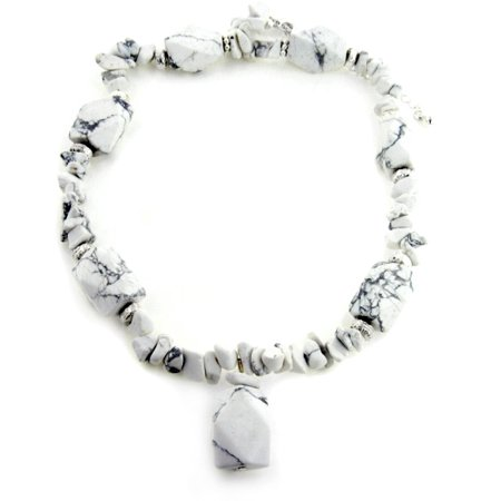 Boho Hippie White Howlite Chunky Beaded Stone Adjustable 18