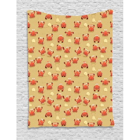 Crabs Tapestry, Playful Childish Sea Animals on a Sandy Beach with Shells Kids Design Fauna, Wall Hanging for Bedroom Living Room Dorm Decor, 60W X 80L Inches, Pale Brown Orange, by Ambesonne